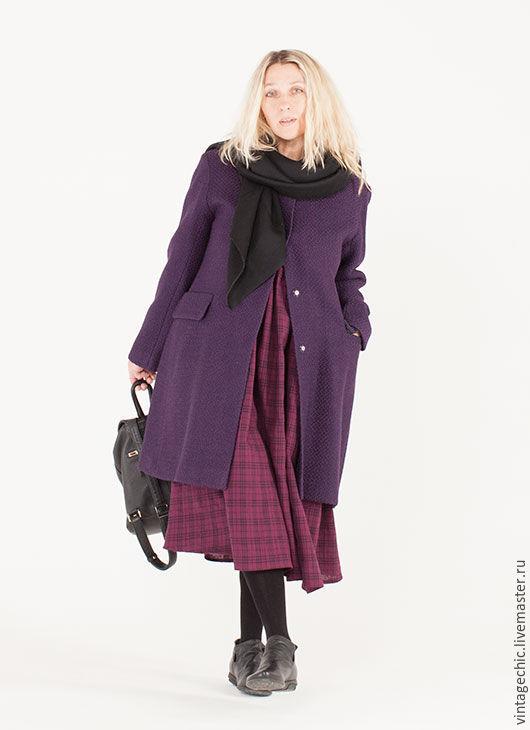 Верхняя одежда ручной работы. Ярмарка Мастеров - ручная работа. Купить Пальто из шерсти цвета violet art.131a. Handmade.