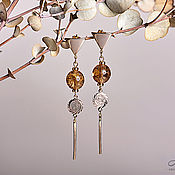 Украшения handmade. Livemaster - original item Long earrings in gold plated bead with a crackle and coins. Handmade.