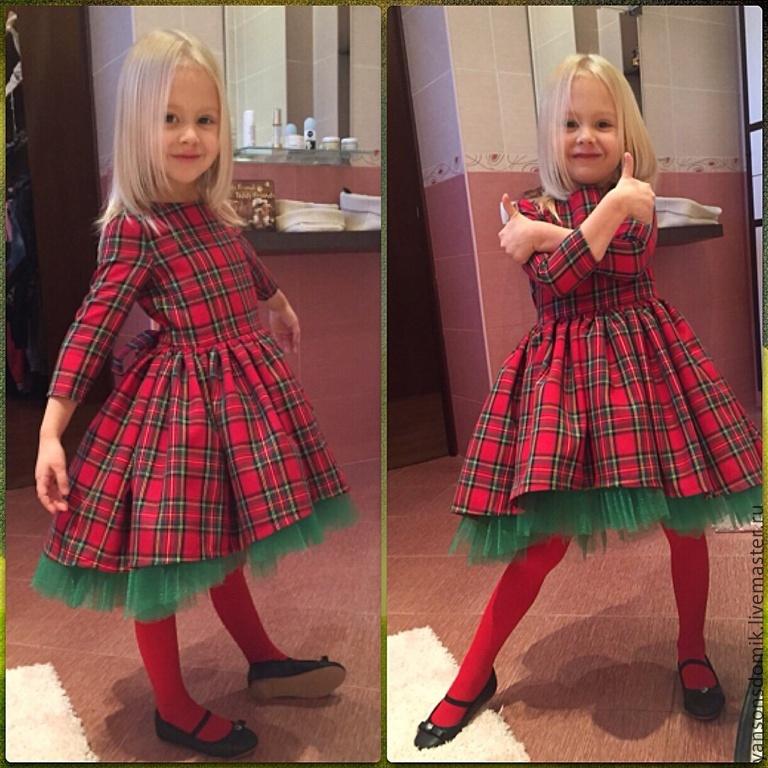Платье с клеткой для девочки