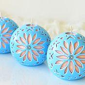 Свечи ручной работы. Ярмарка Мастеров - ручная работа Свечи: Резные свечи шары, голубой и оранжевый, резной шар. Handmade.