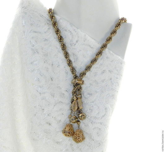 Винтажные украшения. Ярмарка Мастеров - ручная работа. Купить Ожерелье с ажурными подвесками,боло,США,цепочка,винтажная бижутерия. Handmade.