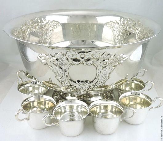 Винтажная посуда. Ярмарка Мастеров - ручная работа. Купить Антикварный набор для пунша. Посеребрение.. Handmade. Набор для праздника, кухня