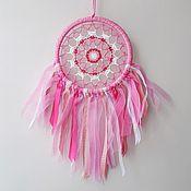 Элементы интерьера ручной работы. Ярмарка Мастеров - ручная работа Розовый ловец снов с лентами. Handmade.