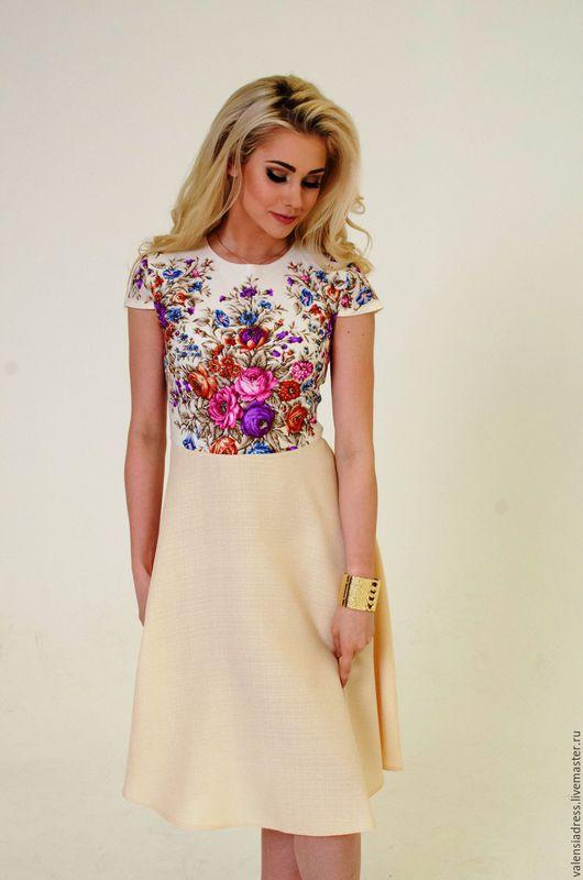 платье летнее, платье бежевое, платье цветочное