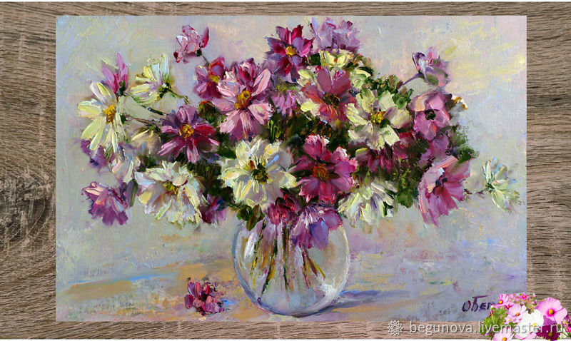 Oil Painting Flowers Cosmos In A Vase Painting Of Cosmos Order A