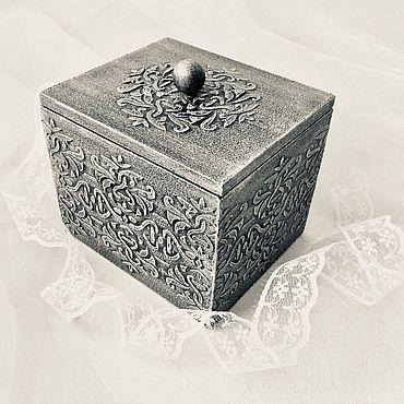 Для дома и интерьера ручной работы. Ярмарка Мастеров - ручная работа Короб-шкатулочка серебряная. Handmade.