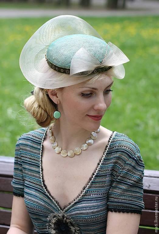 """Шляпы ручной работы. Ярмарка Мастеров - ручная работа. Купить Шляпка """"Адель"""". Handmade. Зеленый, Синамей, ретро, синамей"""