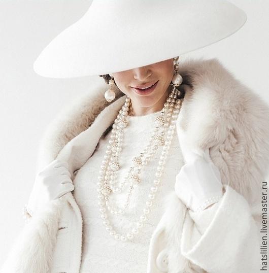 """Шляпы ручной работы. Ярмарка Мастеров - ручная работа. Купить Шляпка в стиле """"Dior"""" белая. Handmade. Dior, белая, велюр"""