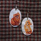 """Украшения ручной работы. Ярмарка Мастеров - ручная работа """"Рыжие котята"""" - серьги с росписью. Handmade."""
