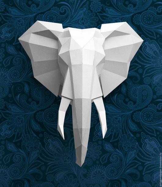 Элементы интерьера ручной работы. Ярмарка Мастеров - ручная работа. Купить Голова слона. Handmade. Белый, голова, Декор