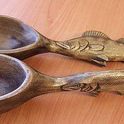 Посуда ручной работы. Ярмарка Мастеров - ручная работа Деревянная резная ложка в подарок рыбаку. Handmade.