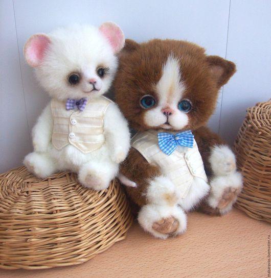 Мишки Тедди ручной работы. Ярмарка Мастеров - ручная работа. Купить мышонок Пит и котик  Лео. Handmade. Коричневый, мышка