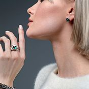 Украшения handmade. Livemaster - original item Selenolate Cepheid ring with emerald cabochon, 18,5 p. Handmade.