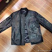 Мужская одежда handmade. Livemaster - original item Men`s crocodile leather jacket, straight cut, black color.. Handmade.