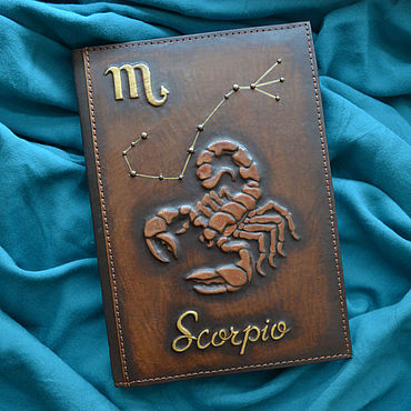 "Stationery handmade. Livemaster - original item Leather notebook ""SCORPIO"". Handmade."