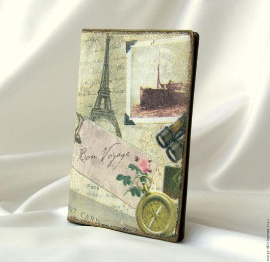 """Обложки ручной работы. Ярмарка Мастеров - ручная работа. Купить Кожаная обложка для паспорта """"Bon Voyage"""". Handmade. Обложка для паспорта"""