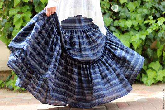 Юбки ручной работы. Ярмарка Мастеров - ручная работа. Купить Длинная летняя юбка синяя БОЛЬШОЙ РАЗМЕР. Handmade.