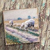 Картины и панно ручной работы. Ярмарка Мастеров - ручная работа картина акрилом Овечки и овсяные поля ... (бохо, сиреневый, бежевый). Handmade.