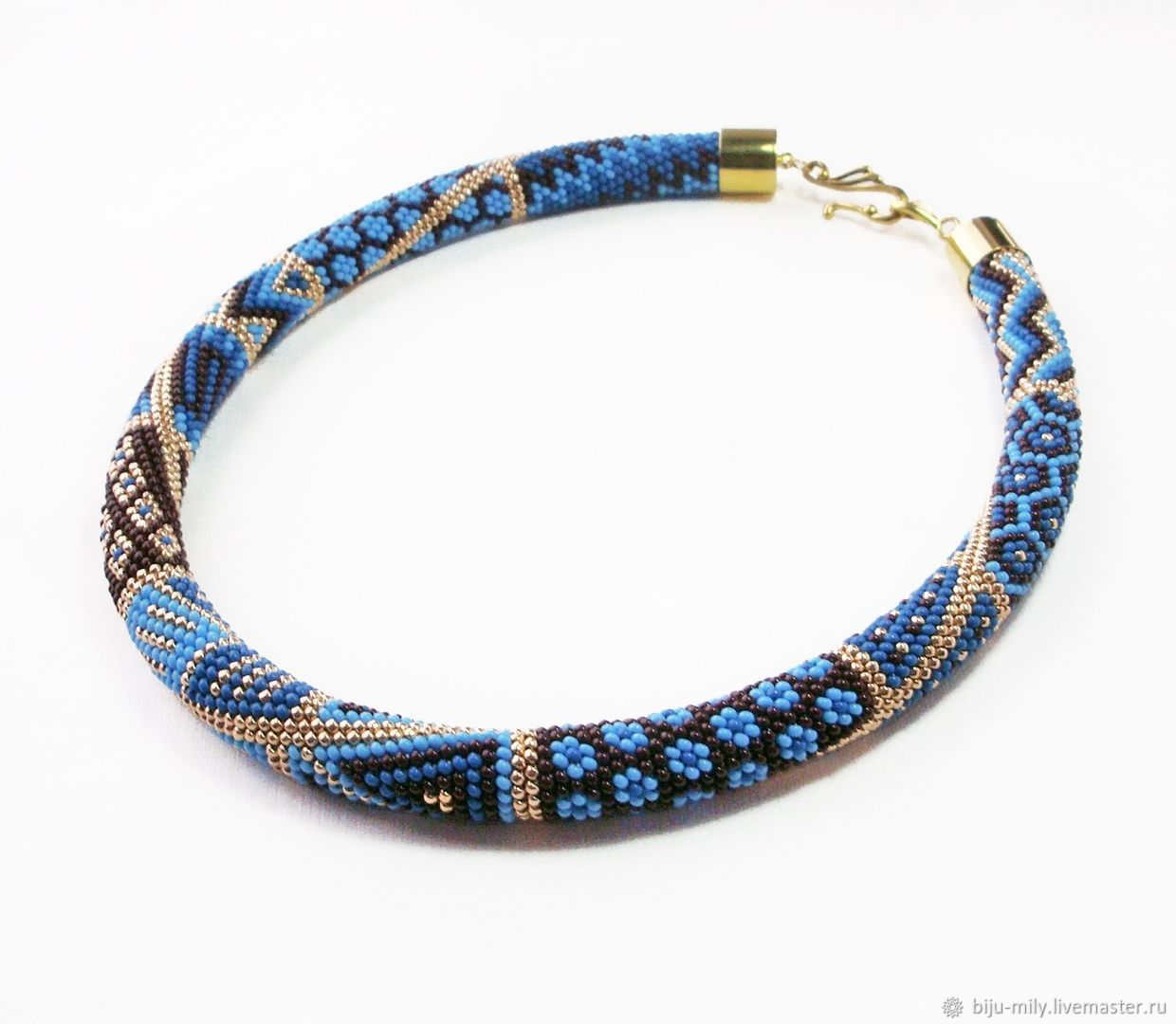 Harness beaded Patchwork blue brown, Necklace, Abakan,  Фото №1