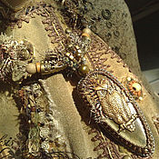 Украшения handmade. Livemaster - original item Necklace(pendant) Owl. Mustard agate, bronze, textile Removable pendant. Handmade.