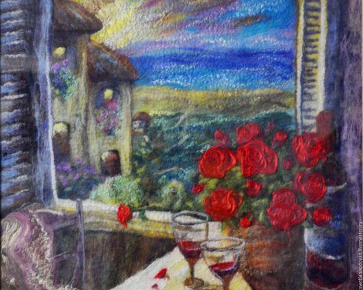 Пейзаж ручной работы. Ярмарка Мастеров - ручная работа. Купить Картина из шерсти На балконе. Handmade. Разноцветный, валяние из шерсти