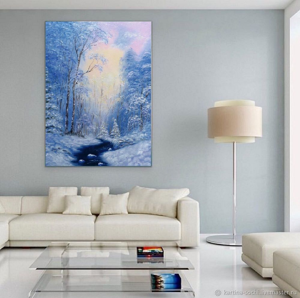 Painting winter Winter landscape on a blue background 40 by 50 cm, Pictures, Sochi,  Фото №1