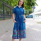 Одежда ручной работы. Ярмарка Мастеров - ручная работа Коттоновое платье с вышивкой. Handmade.