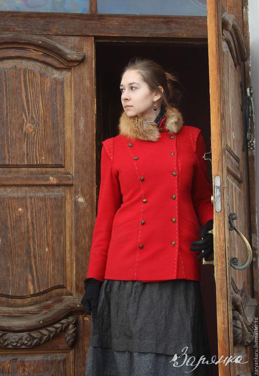 Верхняя одежда ручной работы. Ярмарка Мастеров - ручная работа. Купить Пальто Гусарочка. Handmade. Ярко-красный, натуральный мех