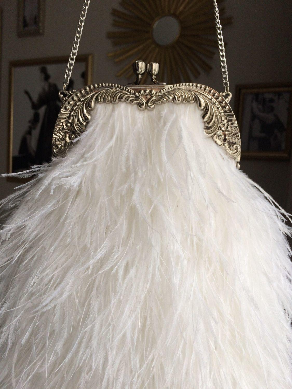 Свадебная сумочка белая из перьев страуса на цепочке. Сумка с перьями, Классическая сумка, Санкт-Петербург,  Фото №1