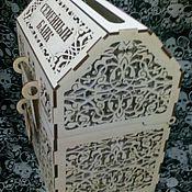 Свадебный салон ручной работы. Ярмарка Мастеров - ручная работа Сундук- шкатулка резная для сбора денег на свадьбе,нат.дерево.. Handmade.