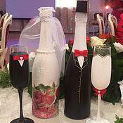 Свадебный салон ручной работы. Ярмарка Мастеров - ручная работа Декор свадебного шампанского. Handmade.