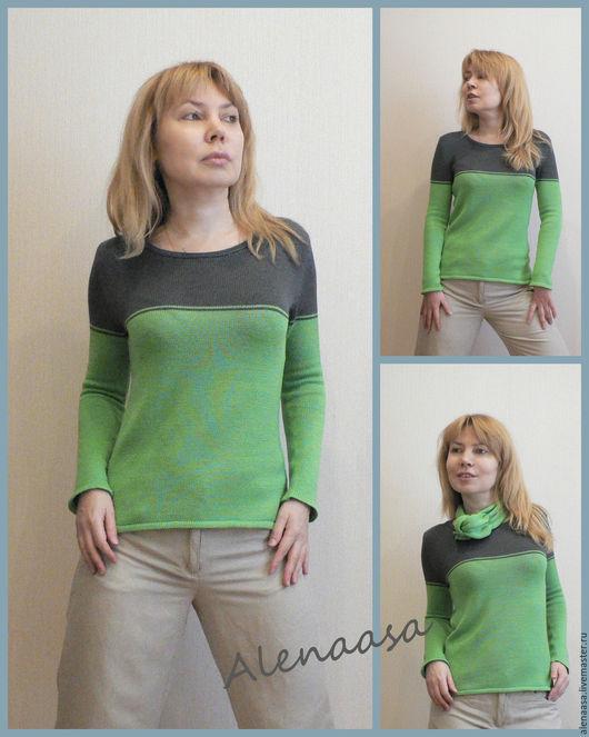 Кофты и свитера ручной работы. Ярмарка Мастеров - ручная работа. Купить Джемпер из 100% кашемира CARIAGGI. Handmade. Ярко-зелёный