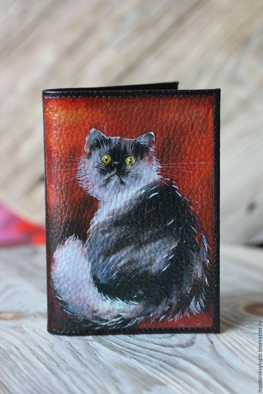 """Обложки ручной работы. Ярмарка Мастеров - ручная работа. Купить Обложка на паспорт """"Чё?"""". Handmade. Кот, коты и кошки, котэ"""