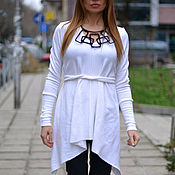 Одежда handmade. Livemaster - original item White elegant blouse with belt - TP0527CK. Handmade.