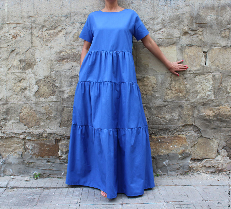 9f06a02f1e9 Синее длинное летнее макси бохо платье из хлопка