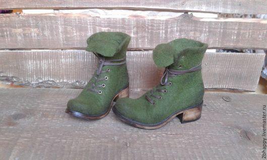 Обувь ручной работы. Ярмарка Мастеров - ручная работа. Купить Валяные ботинки Marcella Evergreen. Handmade. Тёмно-зелёный