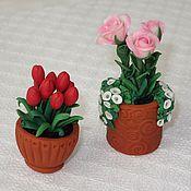 Куклы и игрушки ручной работы. Ярмарка Мастеров - ручная работа Горшочки с цветами (миниатюра из полимерной глины). Handmade.
