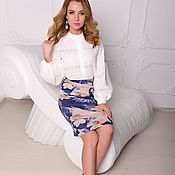 Одежда handmade. Livemaster - original item Pencil skirt from ecosense Flowers. Handmade.
