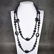 Работы для детей, handmade. Livemaster - original item Long large beads blue aventurine