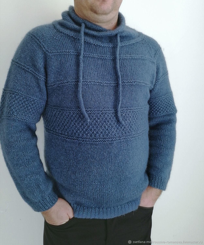 Men's Blue Alpaca Sweater, Mens sweaters, Krasnodar,  Фото №1