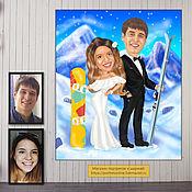 Свадебный салон handmade. Livemaster - original item a wedding gift. Gift to the newlyweds. Cartoon, mountains, skis, snowboard. Handmade.