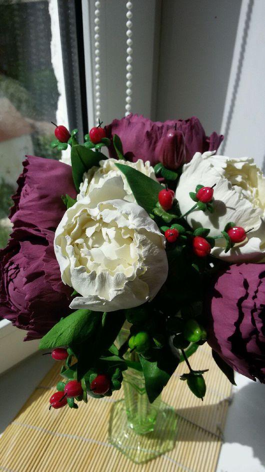 Свадебные цветы ручной работы. Ярмарка Мастеров - ручная работа. Купить Букет,букет -дублер. Handmade. Фоамиран, пион