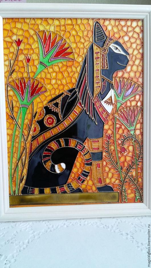 """Животные ручной работы. Ярмарка Мастеров - ручная работа. Купить Витражная картина """"Египетская кошка"""". Handmade. Комбинированный, картина в детскую"""