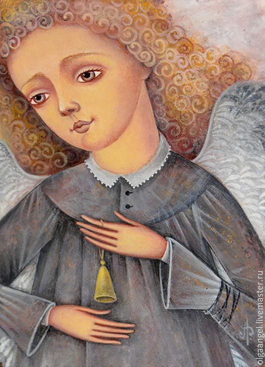 Фантазийные сюжеты ручной работы. Ярмарка Мастеров - ручная работа. Купить Златовласый Ангел с колокольчиком. Handmade. Комбинированный, ангел, темпера