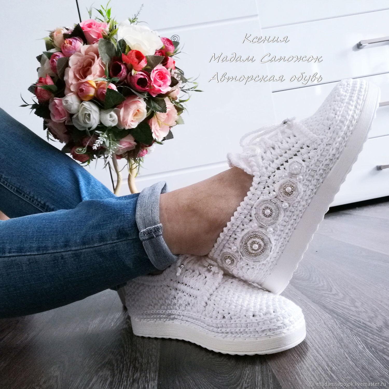 Sneakers with beading women's white, Training shoes, Nizhny Novgorod,  Фото №1