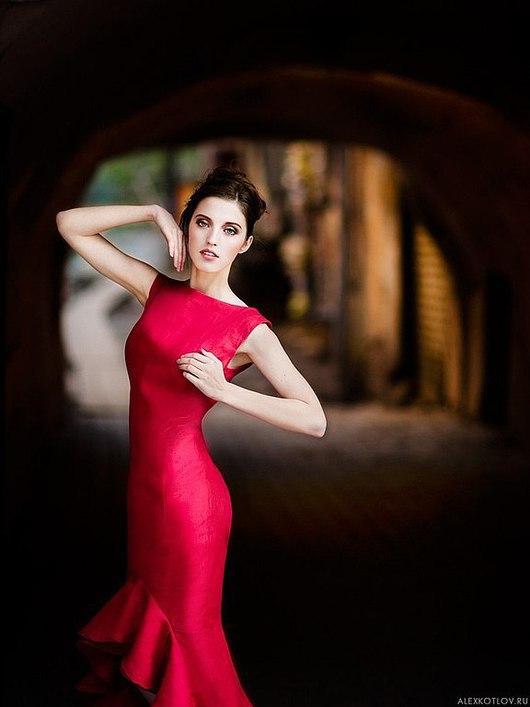 Платья ручной работы. Ярмарка Мастеров - ручная работа. Купить красное платье. Handmade. Ярко-красный, нарядное платье, сатин