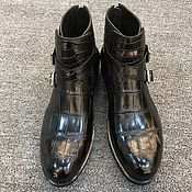 Boots handmade. Livemaster - original item Crocodile leather ankle boots, demi-season, black.. Handmade.