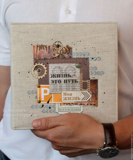 """Персональные подарки ручной работы. Ярмарка Мастеров - ручная работа. Купить Фотоальбом для мужчины """"Жизнь- это путь"""". Handmade. Мужчине, гранж"""