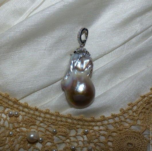 """Кулоны, подвески ручной работы. Ярмарка Мастеров - ручная работа. Купить Кулон """"БАРОЧНАЯ РОЗА""""  - барочный жемчуг, серебро. Handmade."""
