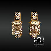 Украшения handmade. Livemaster - original item Gold earrings with moissanite Radiant and diamonds. Five hundred eighty five.. Handmade.